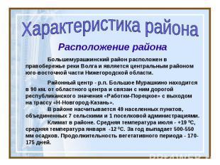 Характеристика района Расположение района Большемурашкинский район расположен в