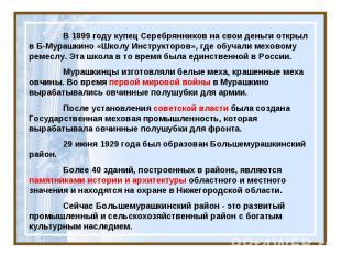 В 1899 году купец Серебрянников на свои деньги открыл в Б-Мурашкино «Школу Инстр