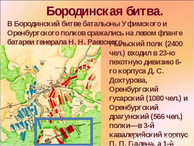 Бородинская битва. В Бородинский битве батальоны Уфимского и Оренбургского полков сражались на левом фланге батареи генерала Н. Н. Раевского. Рыльский полк (2400 чел.) входил в 23-ю пехотную дивизию 6-го корпуса Д. С. Дохтурова, Оренбургский гусарск…