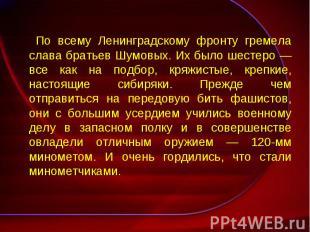 По всему Ленинградскому фронту гремела слава братьев Шумовых. Их было шестеро —