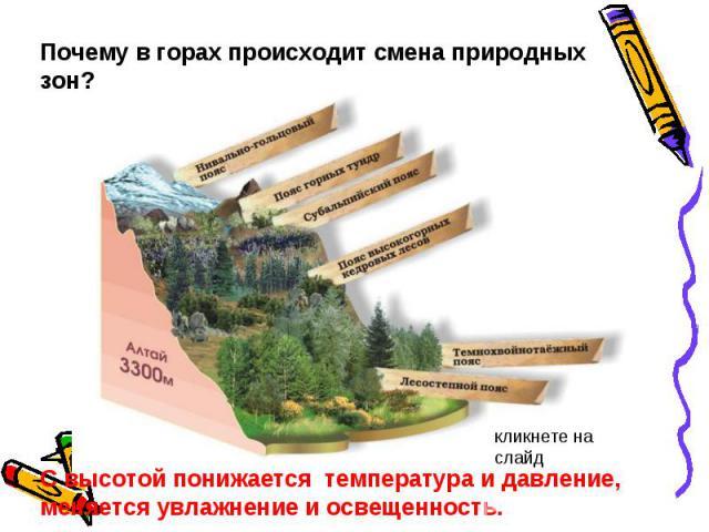 Почему в горах происходит смена природных зон? С высотой понижается температура и давление, меняется увлажнение и освещенность.