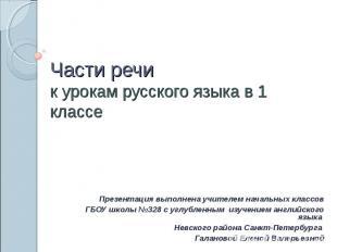 Части речи к урокам русского языка в 1 классе Презентация выполнена учителем нач