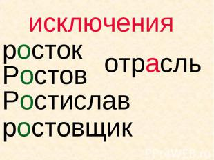 исключения росток Ростов Ростислав ростовщик