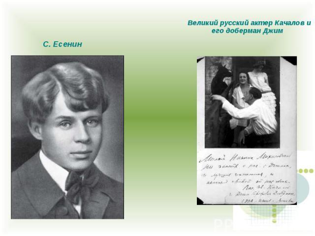 С. Есенин Великий русский актер Качалов и его доберман Джим