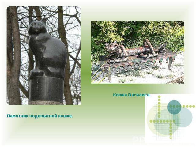 Памятник подопытной кошке. Кошка Василиса.
