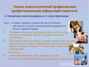 Этапы психологической профилактики профессиональной деформации педагогов 2.Эмоци
