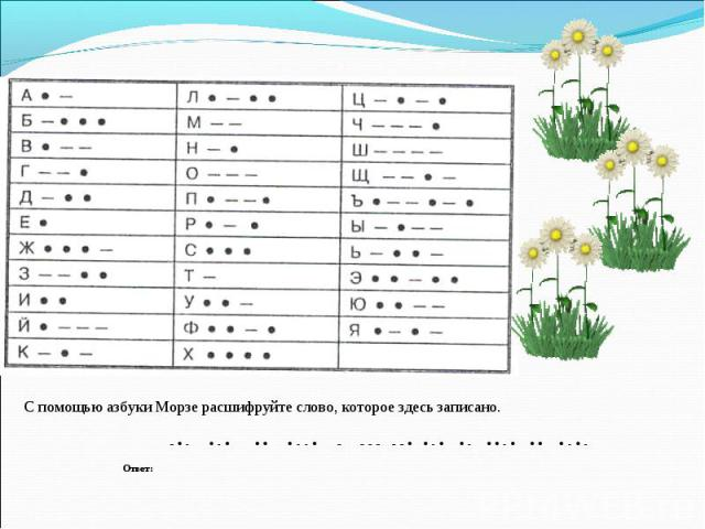 С помощью азбуки Морзе расшифруйте слово, которое здесь записано.
