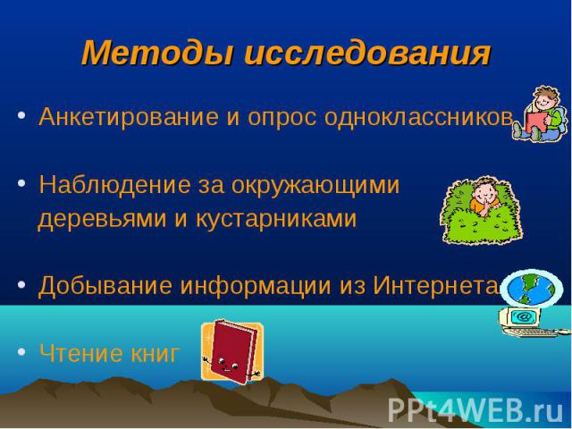 Методы исследования Анкетирование и опрос одноклассников Наблюдение за окружающими деревьями и кустарниками Добывание информации из Интернета Чтение книг