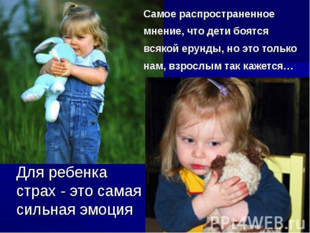 Самое распространенное мнение, что дети боятся всякой ерунды, но это только нам, взрослым так кажется… Для ребенка страх - это самая сильная эмоция