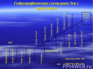 Гидрографическая схема реки Зея с притоками