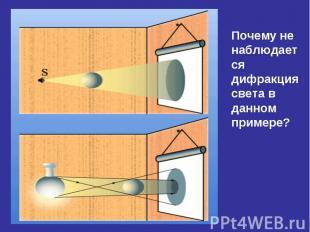 Почему не наблюдается дифракция света в данном примере?