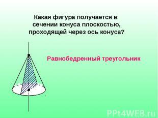 Какая фигура получается в сечении конуса плоскостью, проходящей через ось конуса
