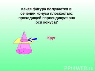 Какая фигура получается в сечении конуса плоскостью, проходящей перпендикулярно