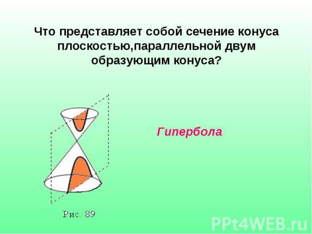 Что представляет собой сечение конуса плоскостью,параллельной двум образующим конуса? Гипербола