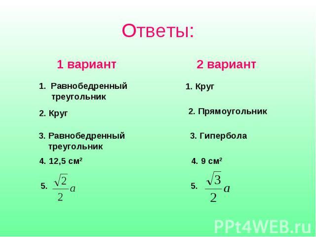 Ответы:1 вариант Равнобедренный треугольник 2. Круг 3. Равнобедренный треугольник