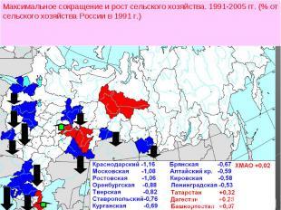 Максимальное сокращение и рост сельского хозяйства. 1991-2005 гг. (% от сельског