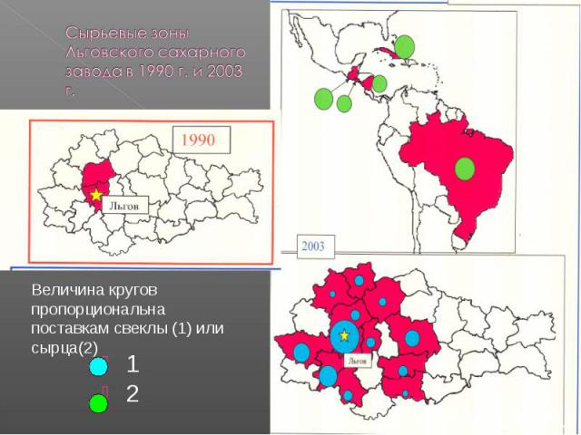 Сырьевые зоны Льговского сахарного завода в 1990 г. и 2003 г. Величина кругов пропорциональна поставкам свеклы (1) или сырца(2)