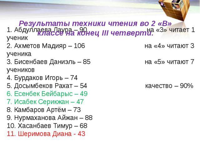 Результаты техники чтения во 2 «В» классе на конец III четверти. 1. Абдуллаева Лаура – 90 на «3» читает 1 ученик 2. Ахметов Мадияр – 106 на «4» читают 3 ученика 3. Бисенбаев Даниэль – 85 на «5» читают 7 учеников 4. Бурдаков Игорь – 74 5. Досымбеков …