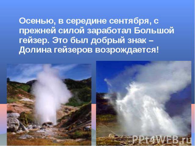 Осенью, в середине сентября, с прежней силой заработал Большой гейзер. Это был добрый знак – Долина гейзеров возрождается!