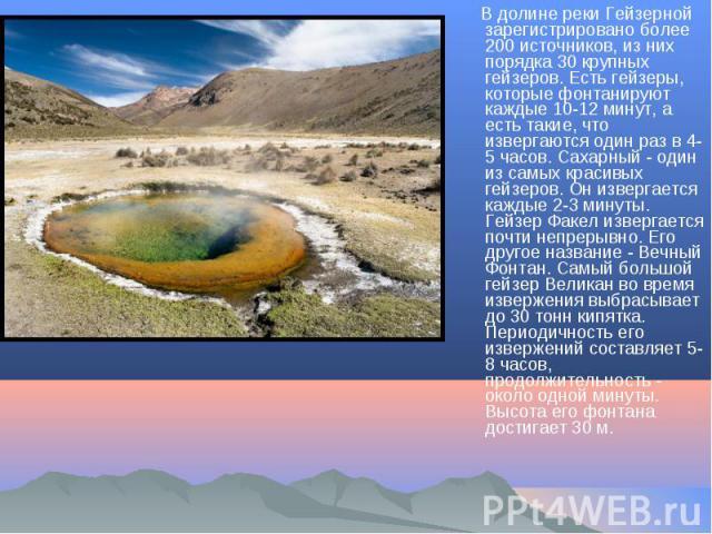 В долине реки Гейзерной зарегистрировано более 200 источников, из них порядка 30 крупных гейзеров. Есть гейзеры, которые фонтанируют каждые 10-12 минут, а есть такие, что извергаются один раз в 4-5 часов. Сахарный - один из самых красивых гейзеров. …
