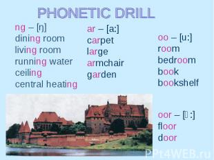 PHONETIC DRILL ng – [ŋ] dining room living room running water ceiling central he