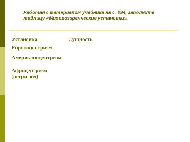 Работая с материалом учебника на с. 294, заполните таблицу «Мировоззренческие установки».