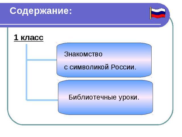 Содержание: 1 класс Знакомство с символикой России. Библиотечные уроки.