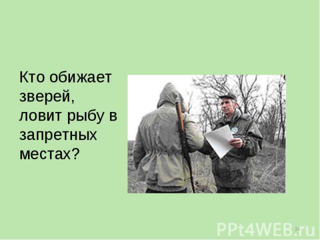 Кто обижает зверей, ловит рыбу в запретных местах?