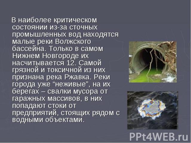 """В наиболее критическом состоянии из-за сточных промышленных вод находятся малые реки Волжского бассейна. Только в самом Нижнем Новгороде их насчитывается 12. Самой грязной и токсичной из них признана река Ржавка. Реки города уже """"неживые"""", на их бер…"""