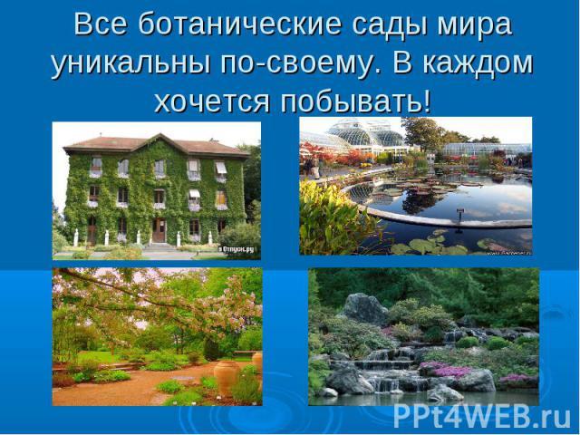 Все ботанические сады мира уникальны по-своему. В каждом хочется побывать!