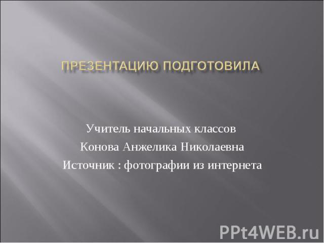 Презентацию подготовила Учитель начальных классов Конова Анжелика Николаевна Источник : фотографии из интернета