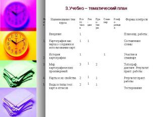 3.Учебно – тематический план