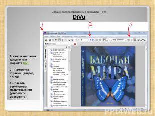 Самые распространенные форматы – это DjVu 1- кнопка открытия документа в формате