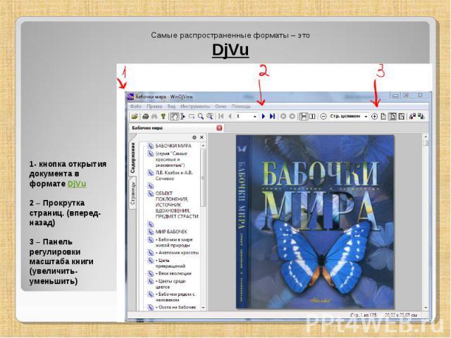 Самые распространенные форматы – это DjVu 1- кнопка открытия документа в формате DjVu 2 – Прокрутка страниц. (вперед-назад) 3 – Панель регулировки масштаба книги (увеличить-уменьшить)