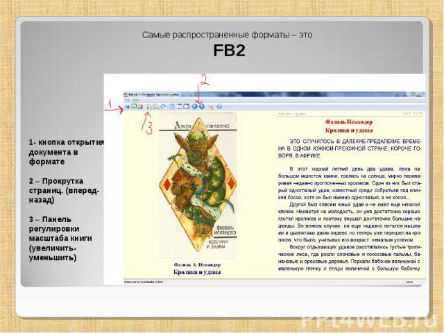 Самые распространенные форматы – это FB2 1- кнопка открытия документа в формате 2 – Прокрутка страниц. (вперед-назад) 3 – Панель регулировки масштаба книги (увеличить-уменьшить)