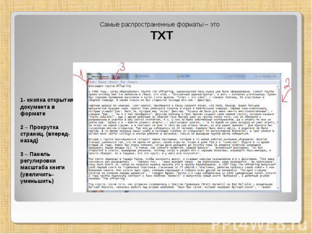 Самые распространенные форматы – это TXT 1- кнопка открытия документа в формате 2 – Прокрутка страниц. (вперед-назад) 3 – Панель регулировки масштаба книги (увеличить-уменьшить)