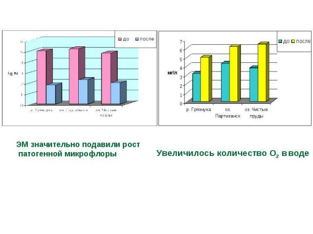 ЭМ значительно подавили рост патогенной микрофлоры Увеличилось количество О2 в воде