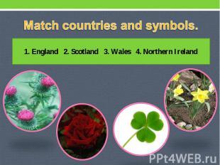 Match countries and symbols. 1. England 2. Scotland 3. Wales 4. Northern Ireland