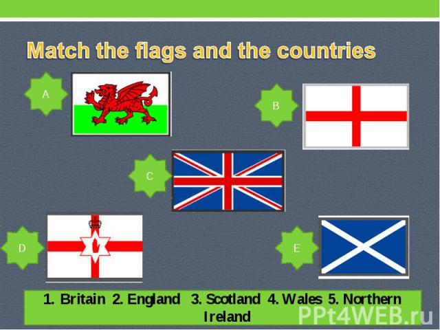 Match the flags and the countries Britain 2. England 3. Scotland 4. Wales 5. Northern Ireland
