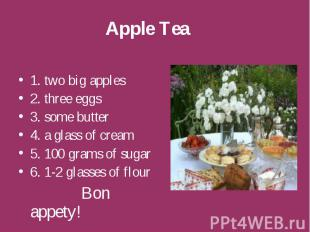 Apple Tea 1. two big apples 2. three eggs 3. some butter 4. a glass of cream 5.