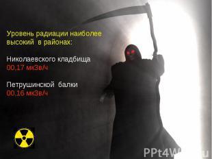 Уровень радиации наиболее высокий в районах: Николаевского кладбища 00,17 мкЗв/ч