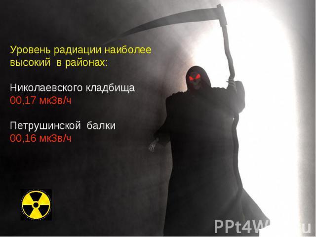 Уровень радиации наиболее высокий в районах: Николаевского кладбища 00,17 мкЗв/ч Петрушинской балки 00,16 мкЗв/ч