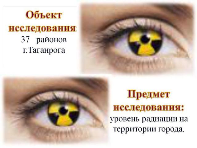 Объект исследования: 37 районов г.Таганрога Предмет исследования: уровень радиации на территории города.