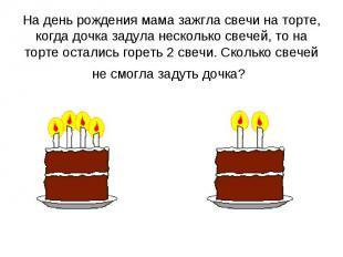 На день рождения мама зажгла свечи на торте, когда дочка задула несколько свечей
