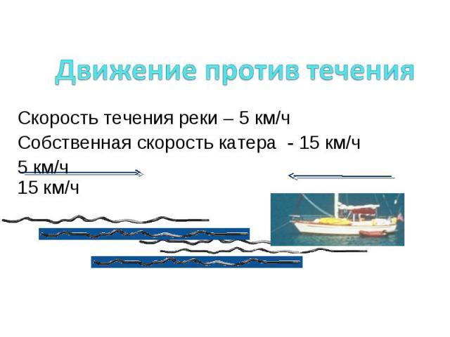 Движение против течения Скорость течения реки – 5 км/ч Собственная скорость катера - 15 км/ч 5 км/ч 15 км/ч Скорость движения катера 15 км/ч – 5 км/ч=10 км/ч