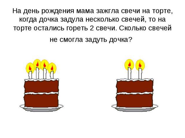 На день рождения мама зажгла свечи на торте, когда дочка задула несколько свечей, то на торте остались гореть 2 свечи. Сколько свечей не смогла задуть дочка?