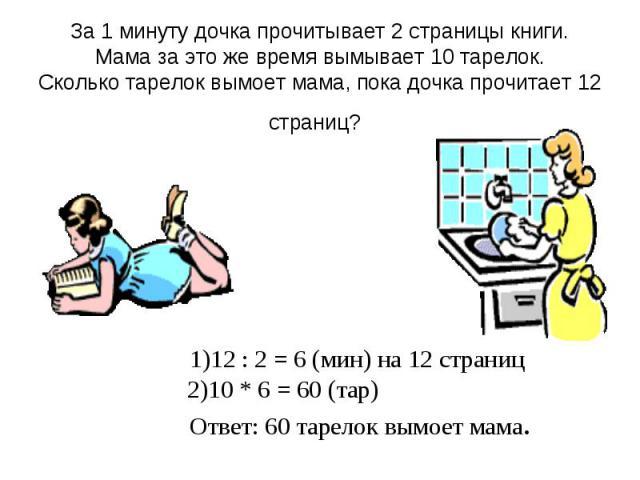За 1 минуту дочка прочитывает 2 страницы книги. Мама за это же время вымывает 10 тарелок. Сколько тарелок вымоет мама, пока дочка прочитает 12 страниц? 1)12 : 2 = 6 (мин) на 12 страниц 2)10 * 6 = 60 (тар) Ответ: 60 тарелок вымоет мама.