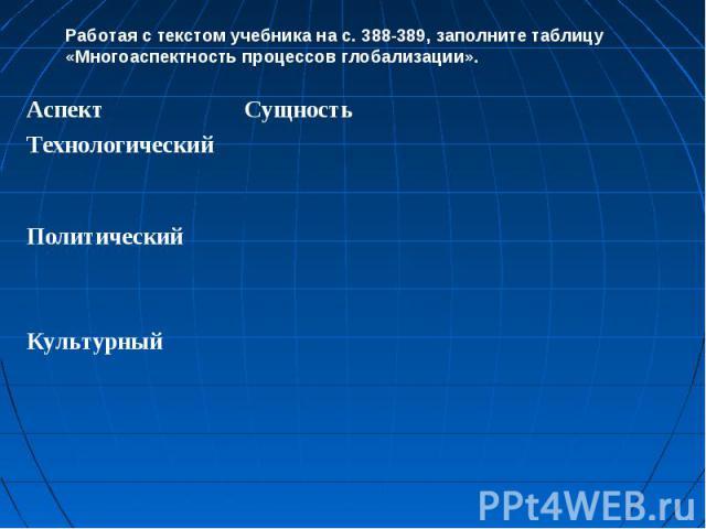 Работая с текстом учебника на с. 388-389, заполните таблицу «Многоаспектность процессов глобализации».