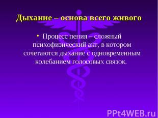 Дыхание – основа всего живого Процесс пения – сложный психофизический акт, в кот