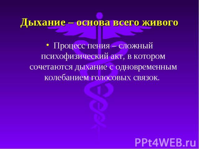 Дыхание – основа всего живого Процесс пения – сложный психофизический акт, в котором сочетаются дыхание с одновременным колебанием голосовых связок.